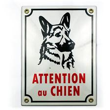 Plaque emaillée ATTENTION AU CHIEN 20x15cm - NEUF - garantie 10 ans émail