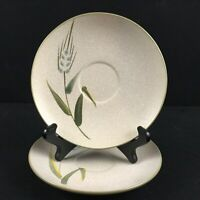 Set of 2 VTG Saucer Plates Sears Wild Rice Green Stoneware Wheat 4103 Japan