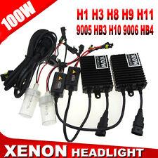 100W 16000LM H7 Xenon Headlights HID Conversion KIT Slim Ballasts & 6000K Lamps