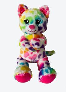 "Build A Bear BAB Rainbow Hearts Kitty Cat 16"" Stuffed Plush Sounds ""I LOVE YOU"""