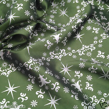 "per metre beautiful Christmas green & silver taffeta fabric  62"" wide"