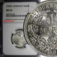Germany - Empire Wilhelm II Silver 1904 D 1 Mark NGC MS62 Munich Mint KM# 14