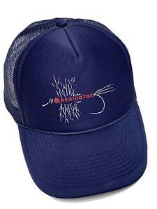 Redington Fly Fishing Snap Back Trucker Hat Cap Navy Blue w/White, Red Hook EUC