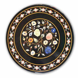 "36"" Marble Coffee Table Semi precious Stones handmade Inlay"