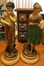 RARE VINTAGE HAND PAINTED ITALIAN BORGHESE CHALK WARE FIGURES STATUES BOY & GIRL