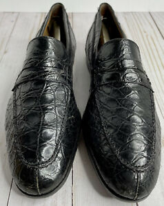 Mezlan Platinum Black Genuine Crocodile Men's Size 8.5 M With Box