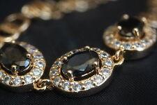"3 Oval Created Black Sapphire Rose Gold Bracelet 16 - 19cm / 6.29 - 7.48"""