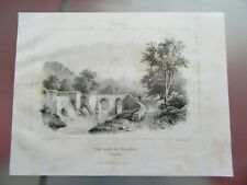 Engraving 1850 Bridge next to of Villareal Spain Lithography
