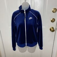 Nike Womens Track Jacket Blue Zip Long Sleeve Stretch Pockets Mock Neck S New
