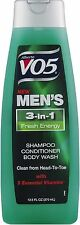 VO5 Alberto 3-in-1 Shampoo Conditioner Body Wash, Fresh Energy 12.50 oz 3pk