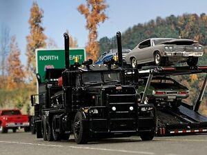 1/64 DCP ALL BLACK #2 PETERBILT 389 HEAVY HAUL TRI AXLE DAY CAB