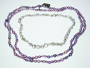 """2Pc Sterling Silver Blue Grey & Purple Mixed Pearl Necklaces 19"""" & 58"""" (SaR)#448"""