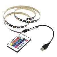 5V 5050 60SMD/M RGB LED Strip Light TV Back Lighting Kit + USB IR Remote Control