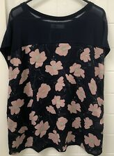 Temt Size S Navy Musk Floral Tee Top Tshirt Casual Weekend Business NWOT New