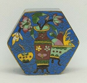 Vintage Mini Chinese Cloisonné Hexagon Lidded Trinket / Jewelry Box
