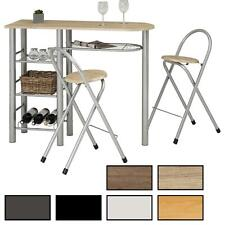 Ensemble table haute de bar mange-debout comptoir et 2 chaises MDF et métal