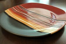 Home Trends Decorative Plate, Red Black Yellow Strips, Euc