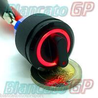 SELETTORE 22mm LAMPADA LED 12V NERO ROSSO ILLUMINATO DEVIATORE ON/ON 2 POSIZIONI