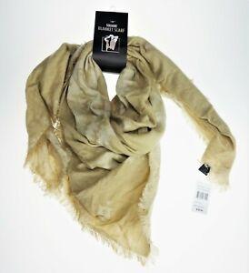 D&Y Square Blanket Scarf Beige Knit Shawl Wrap  100% Acrylic