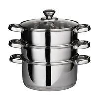 New 3 Tier Piece Metal Stainless Steel Vegetable Steamer Pan Set + Glass Lid