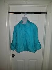 Women snap button turquoise satin jacket size 16w made in Egypt vintage