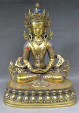 "11.4"" Old Tibet Tibetan Gold Gilt Bronze Amitayus Buddha Statue"