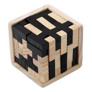 3D Wooden Puzzles Creative Brain Teaser Toy Educational Cube For Adult Kids BM