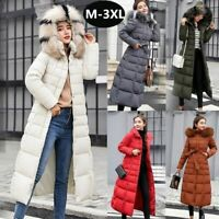Womens Down Jacket Winter Hooded Long Fur Collar Thicken Coat Parka Warm Outwear