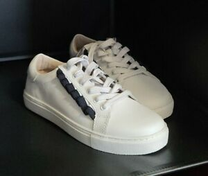 WALNUT - BNWT - Women's Alexis Frill White Leather Sneakers Size 40 - RRP $99.95