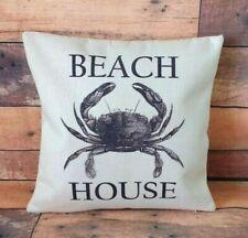 Beach House Crab cushion cover 40 cm ~ Rustic nautical coastal vintage style