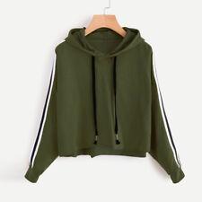 NEW Women Long Sleeve Hoodie Sweatshirt Jumper Hooded Pullover Crop Tops Blouses