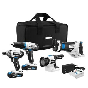 HART 20-Volt Cordless 4 Tool Combo Kit (2) 1.5Ah Lithium-Ion Batts 16in Bag Hole