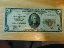 1929 $20 PHILADELPHIA PA Federal Reserve Bank Note Brown National Currency
