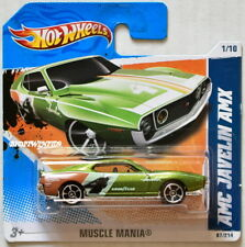 HOT WHEELS 2011 MUSCLE MANIA AMC JAVELIN AMX #1/10 GREEN SHORT CARD W+