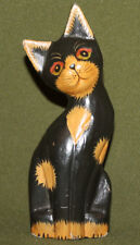 Vintage hand carved painted wood cat statuette