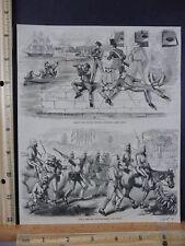 Rare Antique Original VTG 1857 British, US Soldiers Military Engraving Art Print