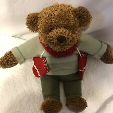 "Teddy Mittens Bear Hallmark 100th Anniversary 2002 12"" Green Sweater Red Scarf"