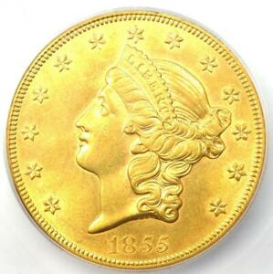 1855 Liberty Gold Double Eagle $20 Coin - ICG MS61 (BU UNC) - $12,000 Value!