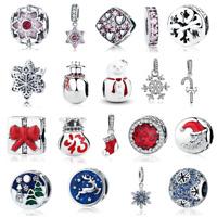 VOROCO 925 Sterling Silver Mutiple Christmas Charms Snowman, Reindeer,Snowflak
