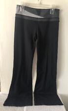 Lululemon Athletica Yoga Exercise Pants Black Gray Wide Legs Sz 8