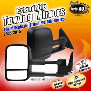 Manual Extendable Towing Mirrors for Mitsubishi Triton MN ML 05-15 w/o Indicator