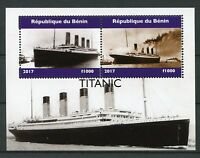 Benin 2017 MNH Titanic 2v M/S Boats Ships Nautical Stamps