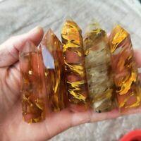 60-70 mm Fluorit Quarz Kristall Sechseckiger Zauberstab Punkt Heilstein
