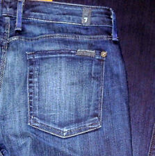Seven 7 For All Mankind Slim Fit Low Flare Leg Women's Blue Jeans Sz 26 27 28 29