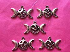 Tibetan Silver Triple Moon - 5 per pack - Wiccan Symbol