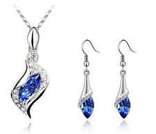 larmes Set bijoux bleu foncé yeux en strass Boucles d'oreilles goutte collier