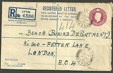 GEORGE VI 61/2D REGISTERED ENVELOPE SIZE G LIFTON DEVON 1950