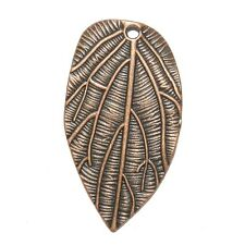 M386p Textured Leaf Antiqued Copper 35mm Double-Sided Drop Pendant 12/pkg