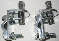 TWO - 3 way aluminum mirror mount brackets w SO-239 stud for CB radio antennas