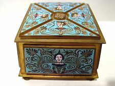19th Century Renaissance style French Champleve Gilt Bronze Jewelry Box